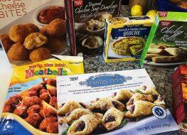 assortment of trader joes frozen appetizers