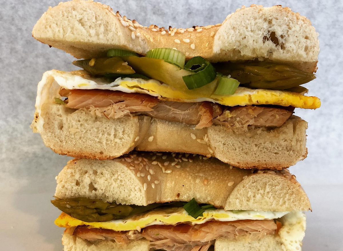 stacked bagel sandwich with trout
