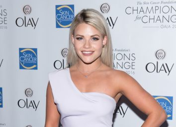 dwts pro witney carson in white one-shoulder dress