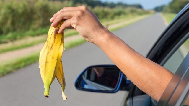 woman throwing banana out of car