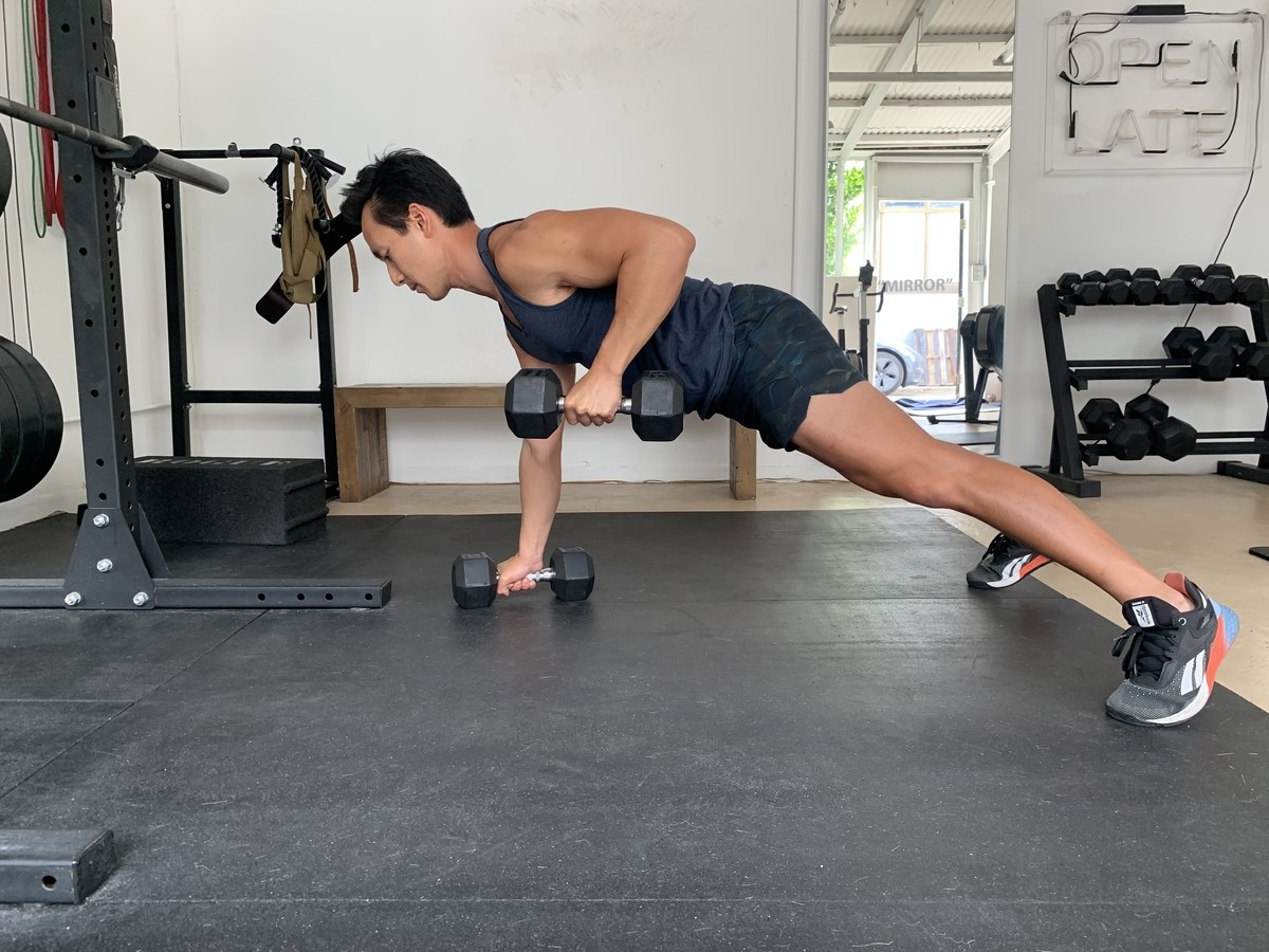 1 dumbbell renegade row and pushup