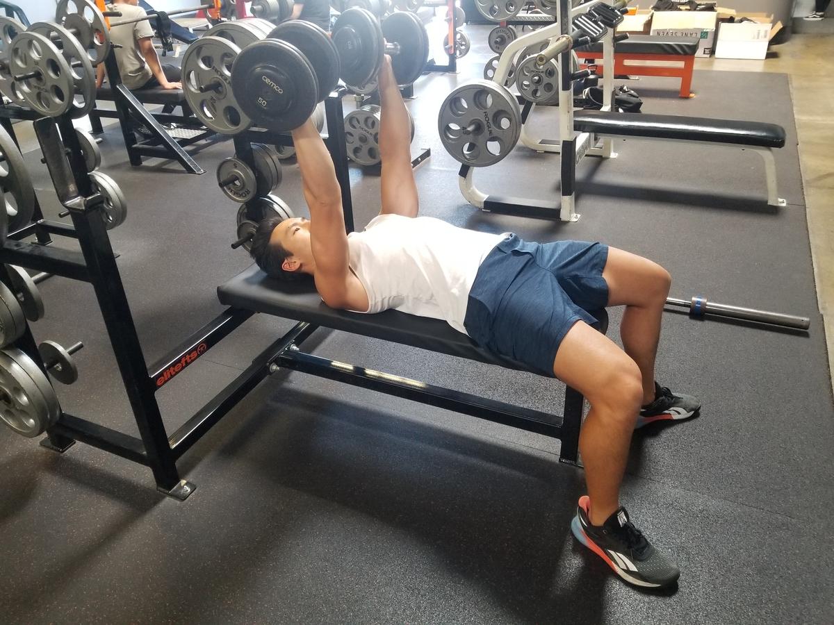 1 flat dumbbell bench press