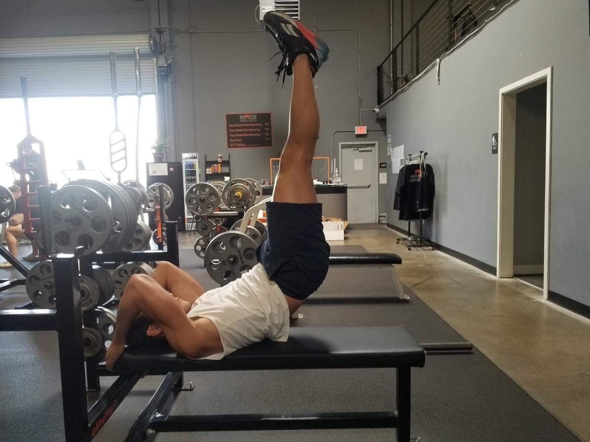 4 bench leg raise