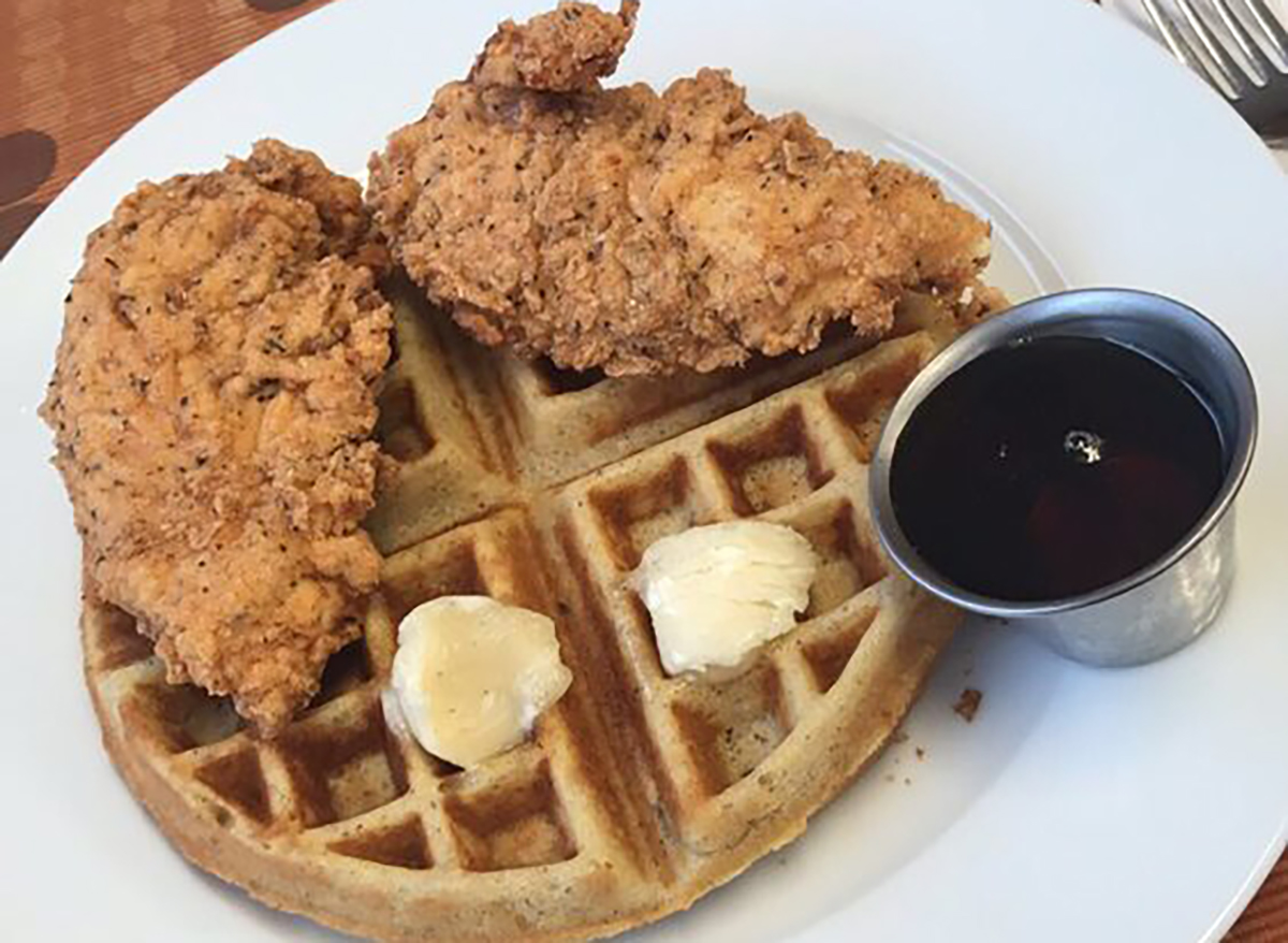 fried chicken tender and waffle
