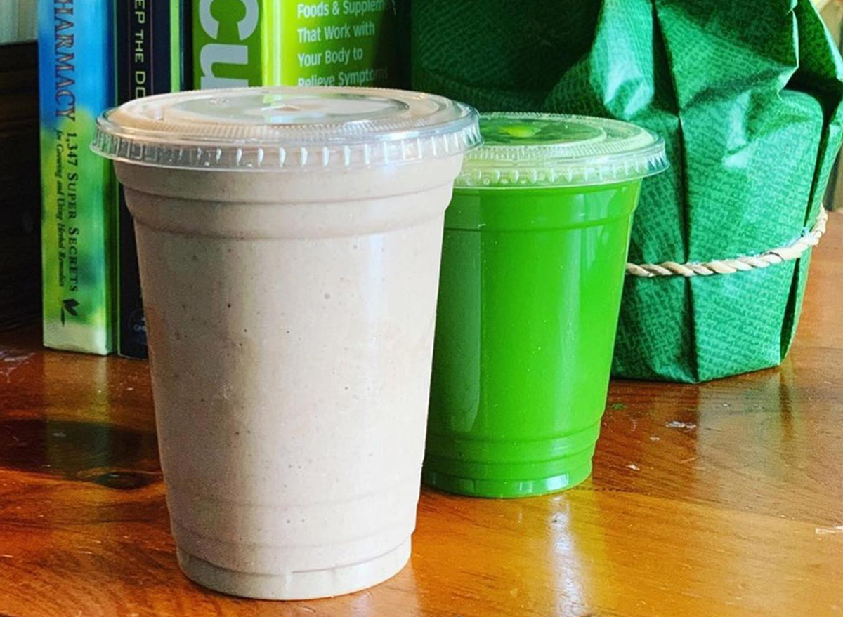 brown and green smoothies