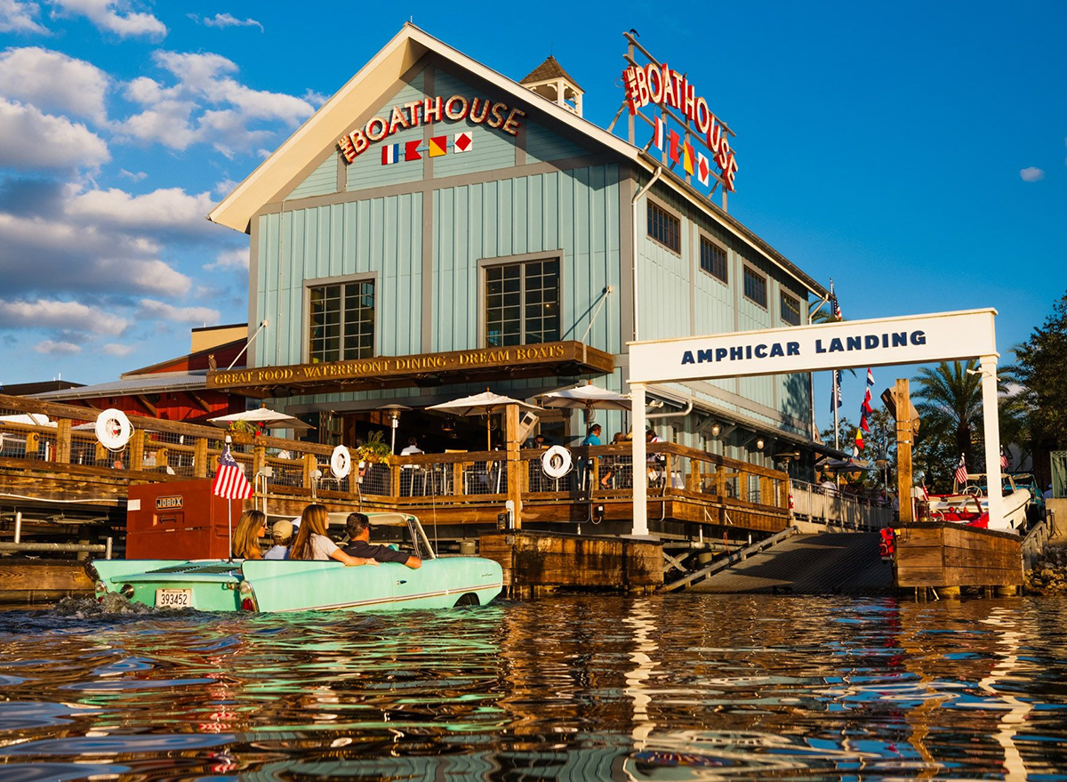 exterior of the boathouse in disney springs