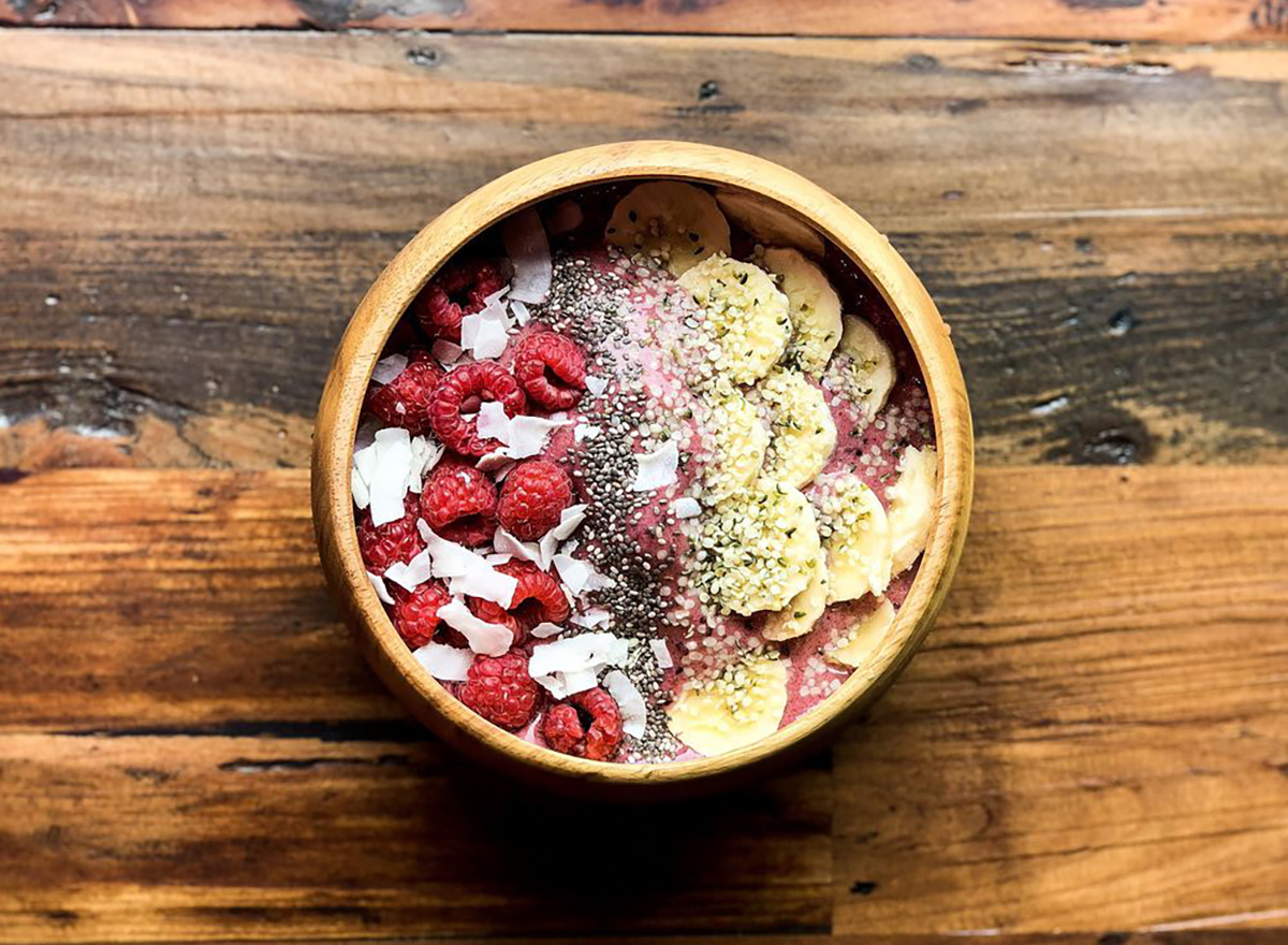 smoothie bowl with berries and seeds