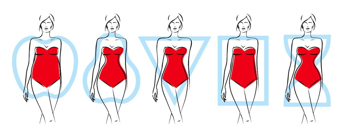 Female body shapes are five types. Apple, pear, triangle, rectangle, sand forms.