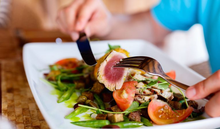 eating salad