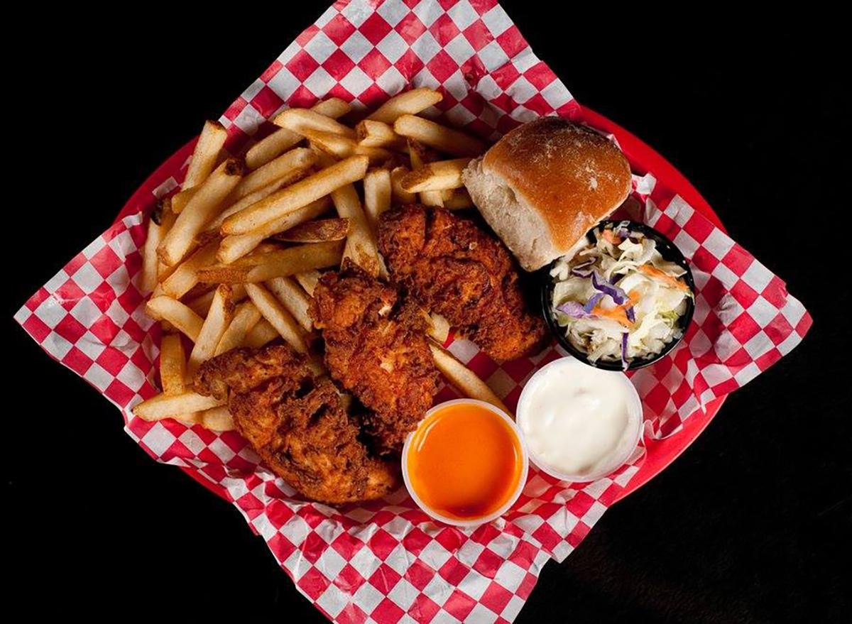 basket of chicken tenders and fries