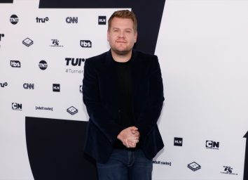james corden on red carpet in jeans and a blazer