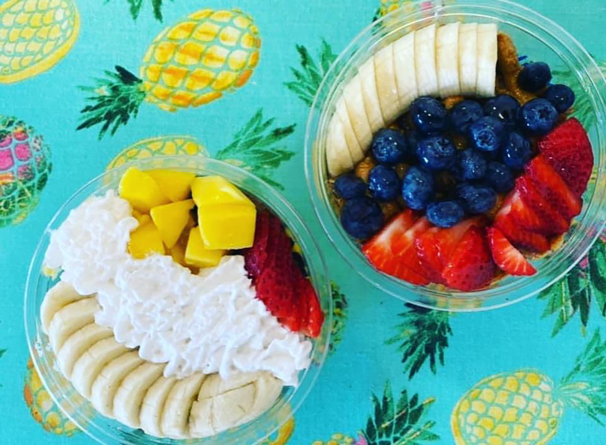 two acai bowls on pineapple printed pattern
