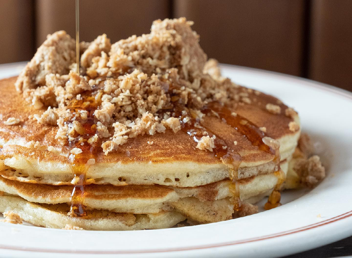pancakes topped with syrup