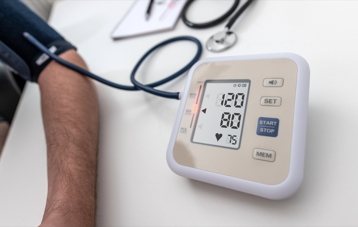 Normal blood pressure 120/80 on an LCD screen