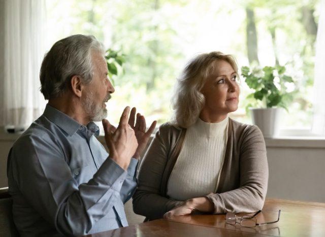 Elderly couple arguing.