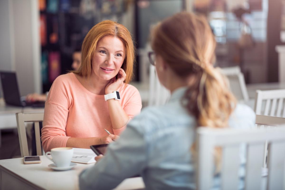 Senior woman conducting an interview