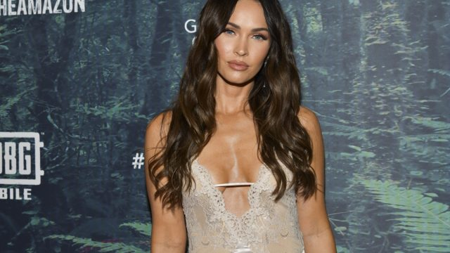 megan fox in lace dress on red carpet