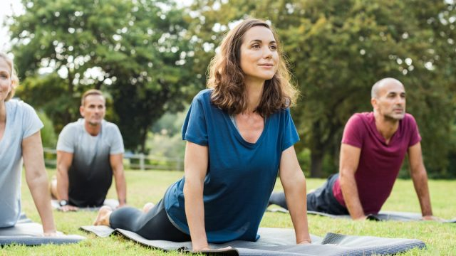Mature healthy people doing yoga at park. Group of multiethnic people exercising on green grass with yoga mat. Happy men and smiling women in yoga class doing exercise outdoor.