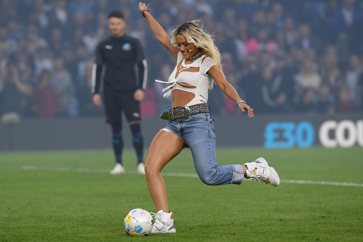 rita ora playing soccer
