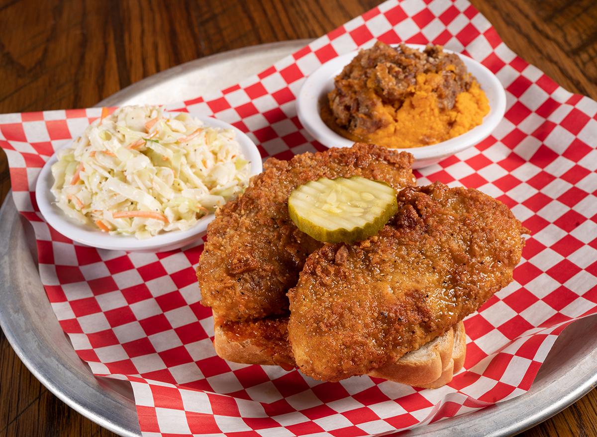 rockys hot chicken platter with coleslaw