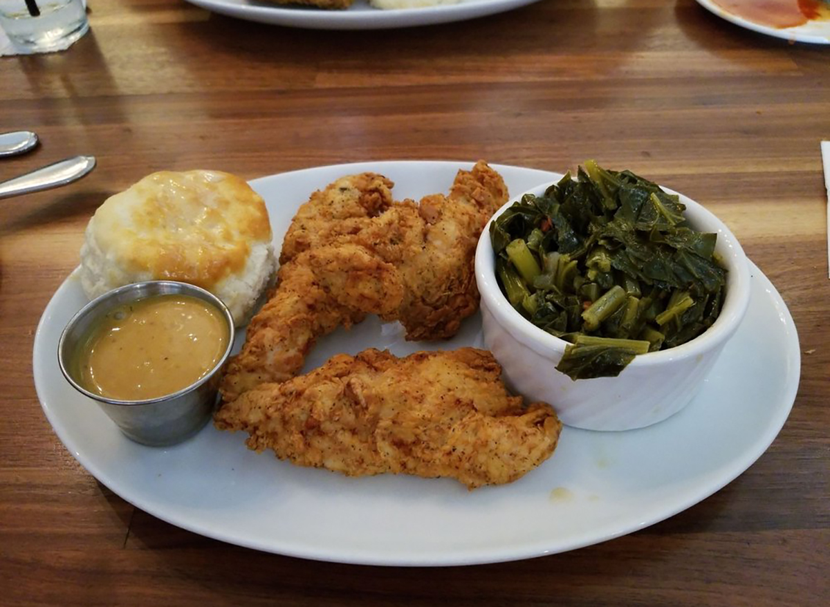 streets fried chicken tender and greens