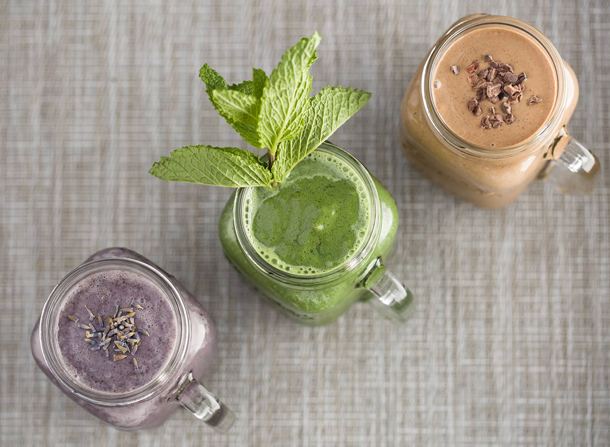 trio of smoothies in glass jars