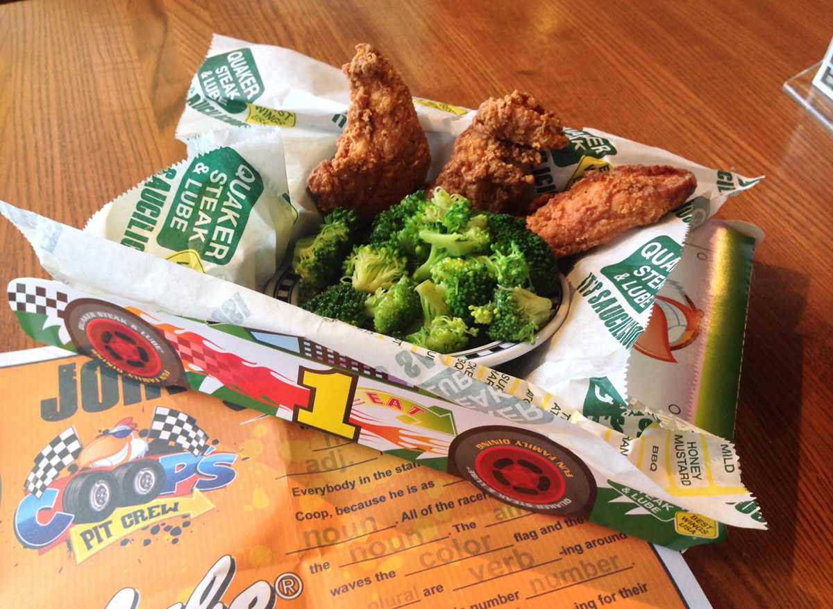 chicken tenders and broccoli in racecar tray