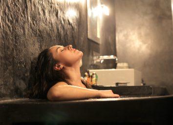 Beautiful woman bathing