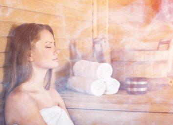 woman in a sauna steam room