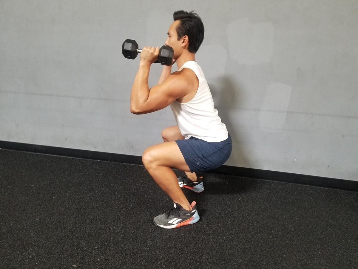 1 dumbbell front squat