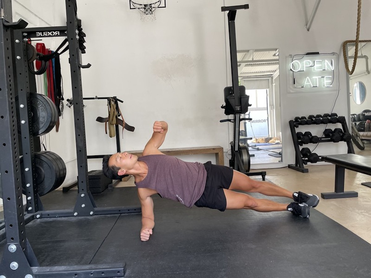 2 side plank with rotation
