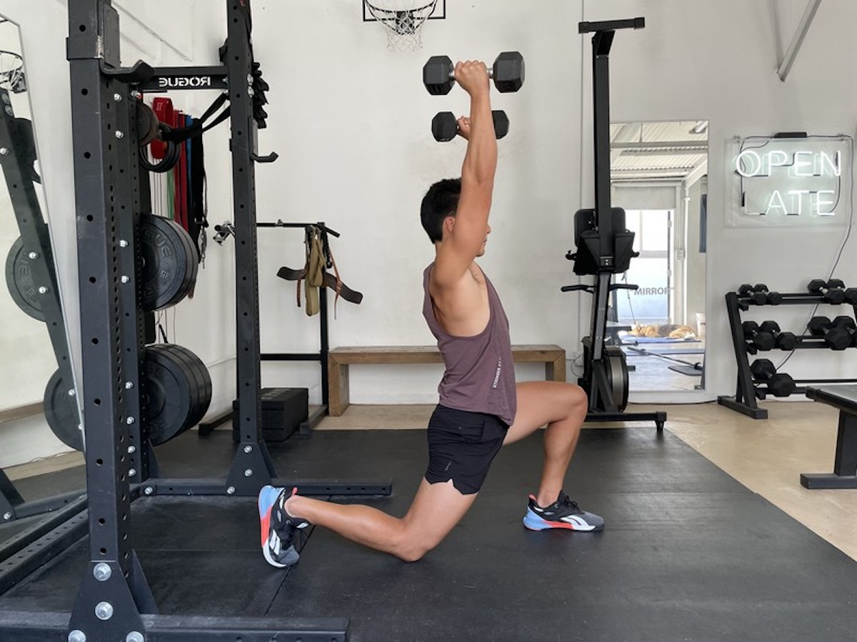 3 reverse lunge and press