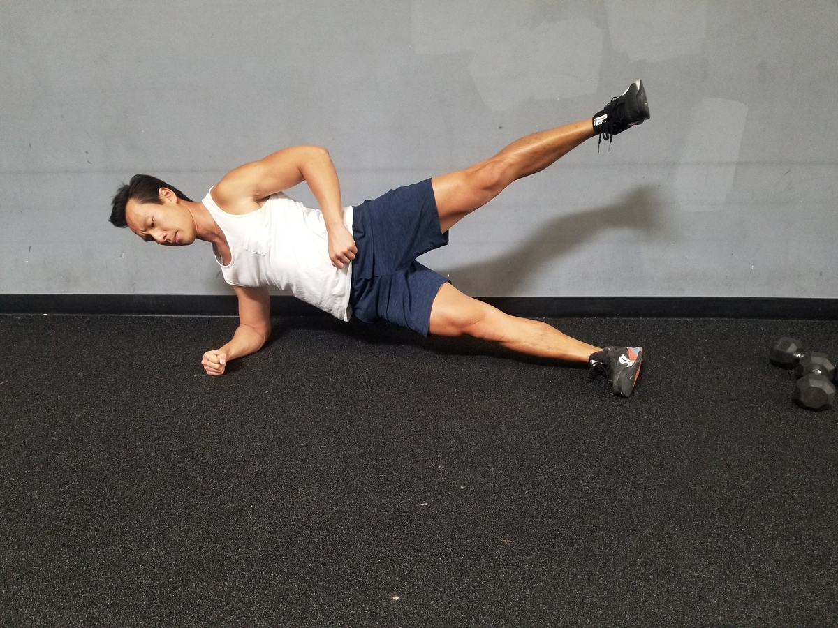 4 side plank with leg raise