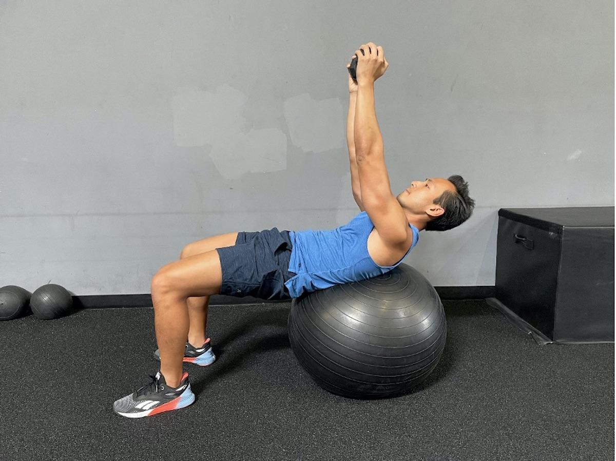 5 weighted swiss ball crunch