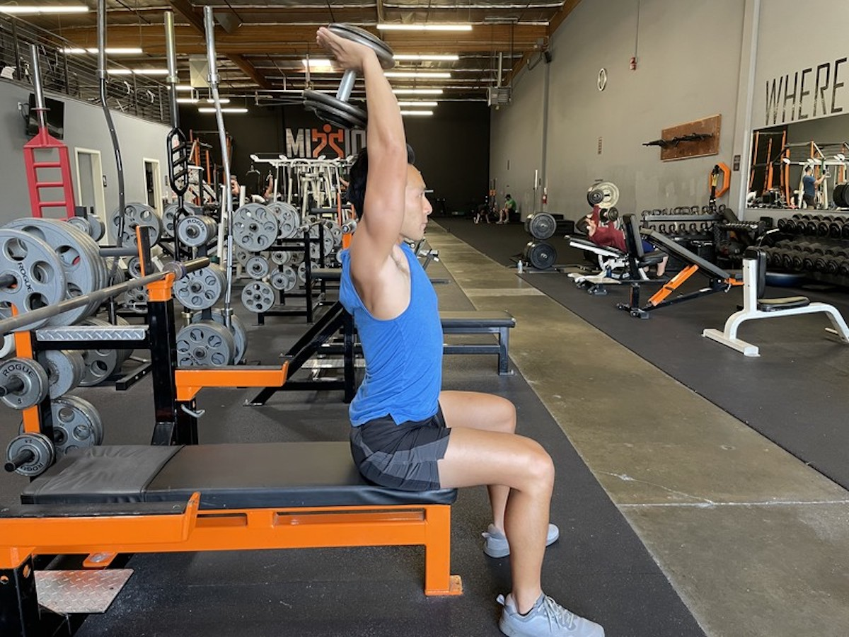 6 overhead db triceps extensions