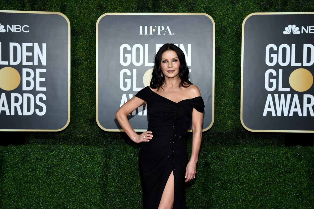 catherine zeta jones in black dress on golden globes red carpet