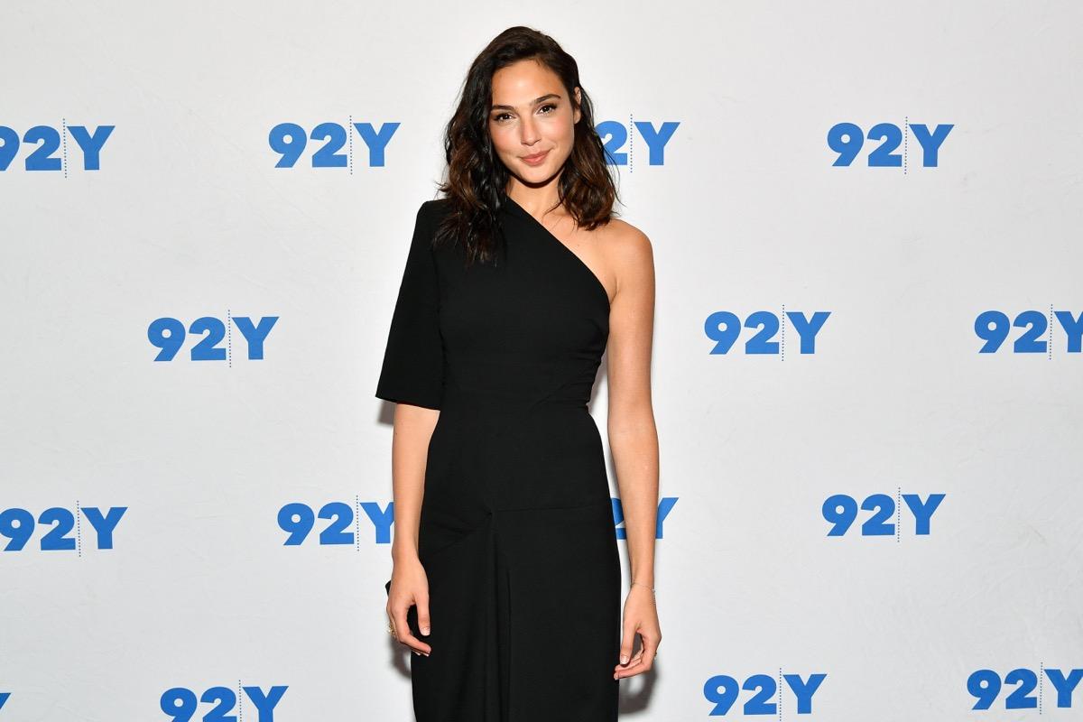 gal gadot in black one-shoulder dress on red carpet