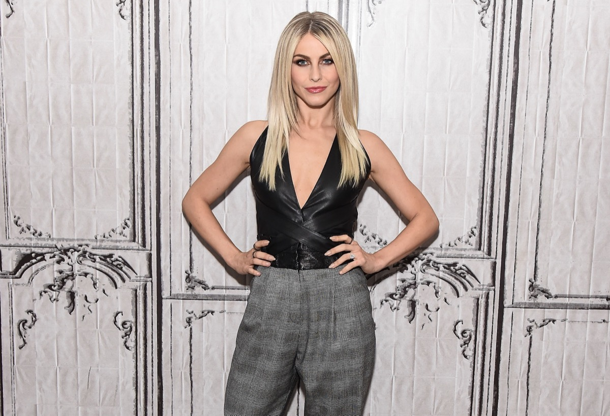 julianne hough in gray pants and black leather top