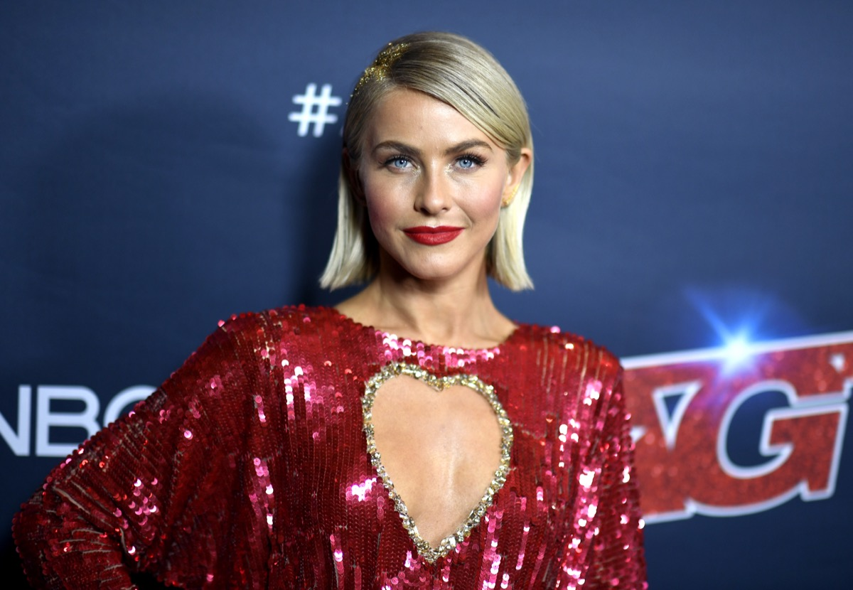 julianne hough in sparkly red dress