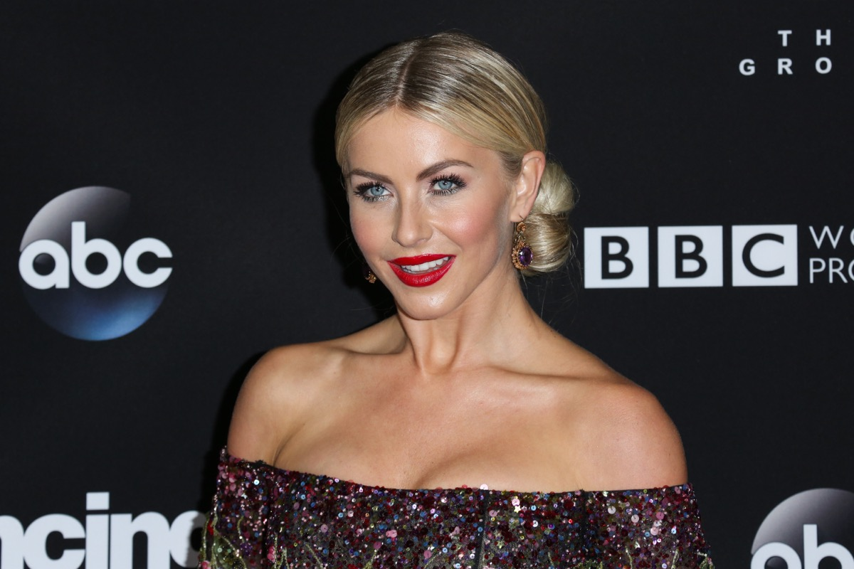 julianne hough wearing red lipstick and off-the-shoulder top