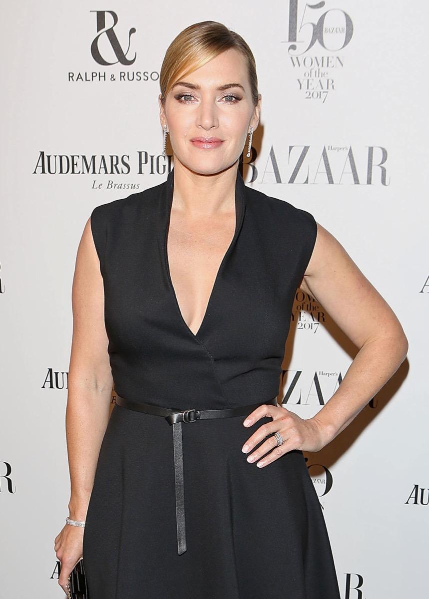 kate winslet on red carpet in black dress