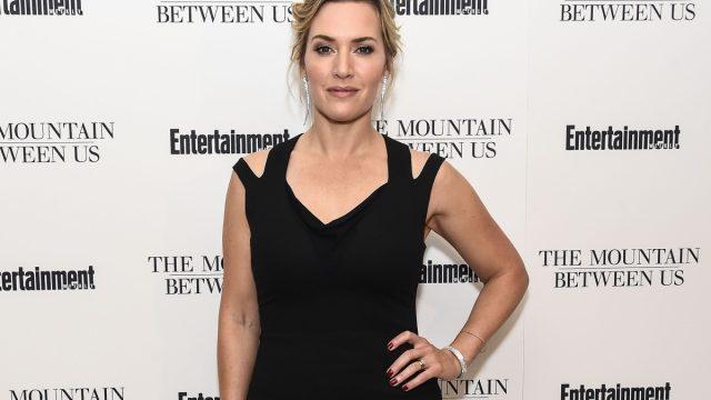 kate winslet in black dress on red carpet