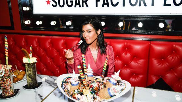 kourtney kardashian eating a huge bowl of ice cream
