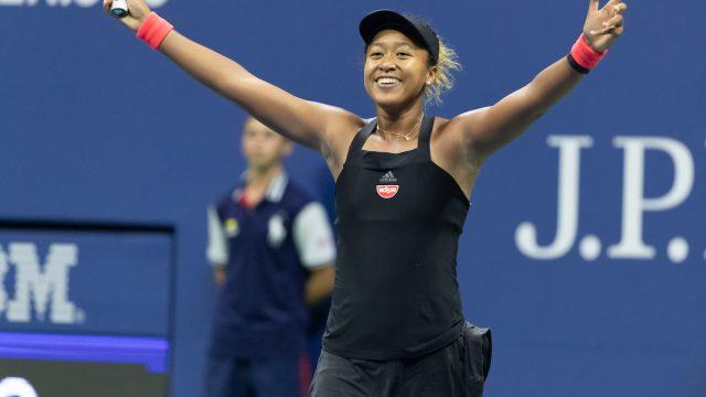 New York, NY - September 6, 2018: Naomi Osaka of Japan celebrate victory in US Open 2018 semifinal match against Madison Keys of USA at USTA Billie Jean King National Tennis Center