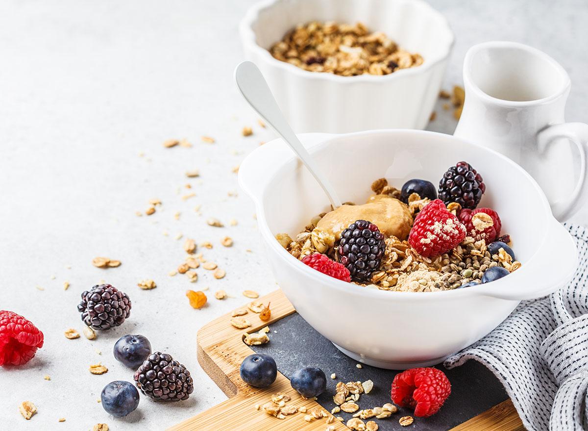 oatmeal peanut butter berries