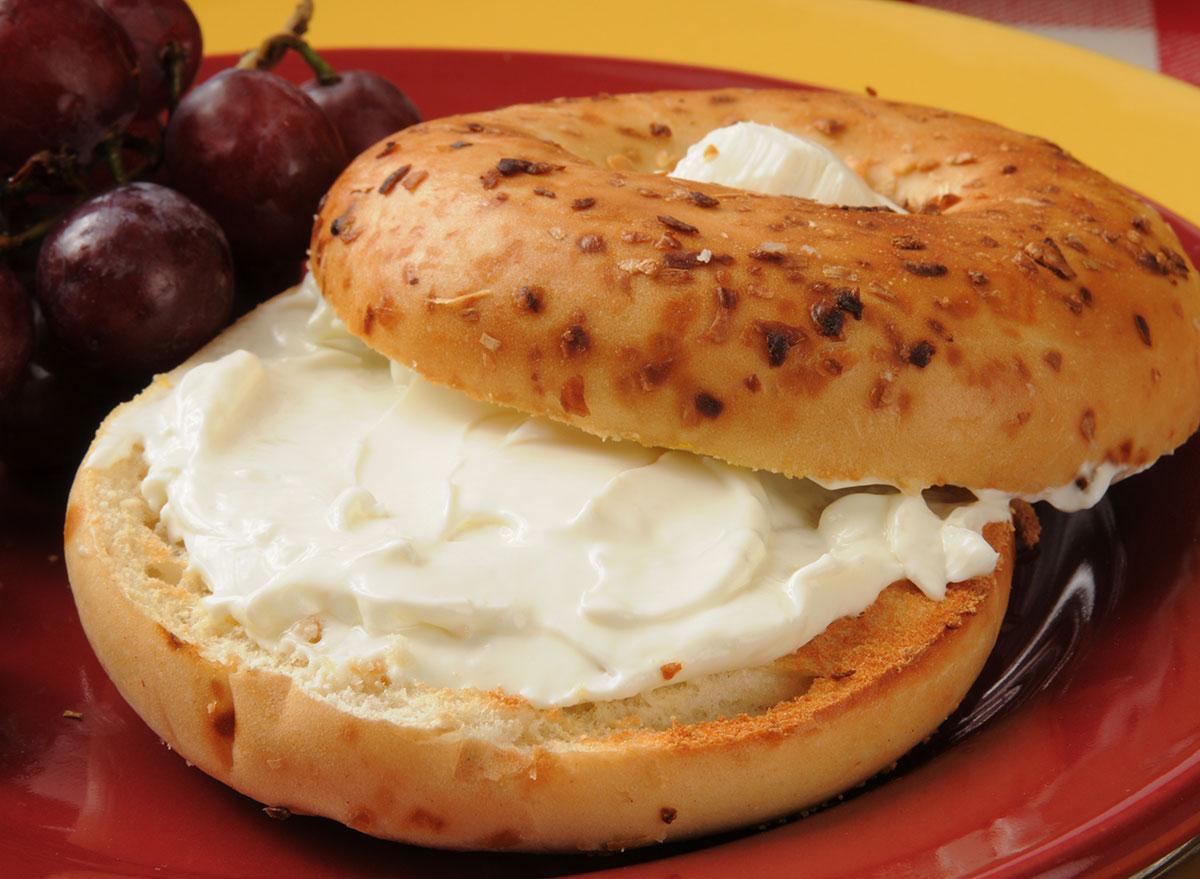 onion bagel cream cheese