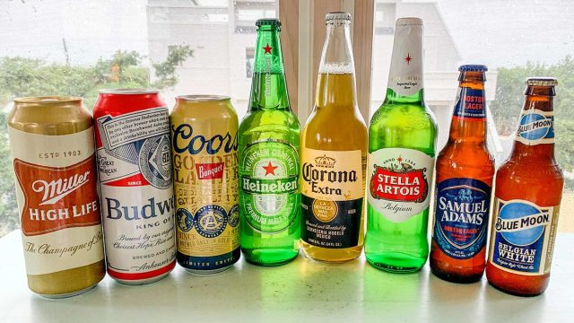 most popular beers lined up on a counter