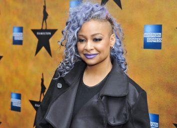 raven symone with purple hair on red carpet