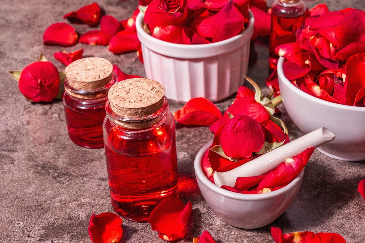 Rosewater with rose petals