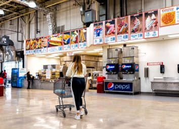 young woman shopping at the costco food court